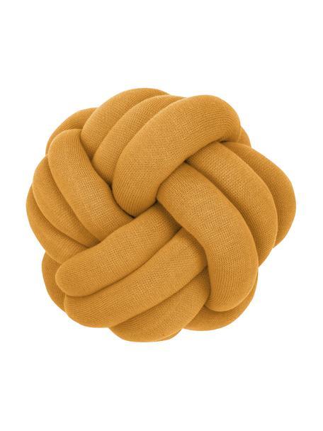 Geknoopt kussen Twist in mosterdgeel, Mosterdgeel, Ø 30 cm