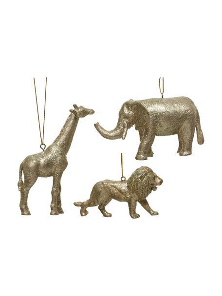 Adornos navideños irrompibles Safari, 3uds., Adornos: plástico, Dorado, An 10 x Al 6 cm