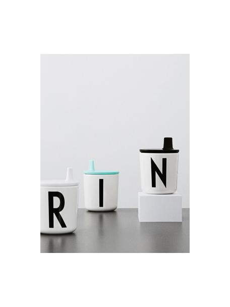 Tazza per bambini senza manico Alphabet (varianti dalla A alla Z), Melamina, Bianco, nero, Tazza N