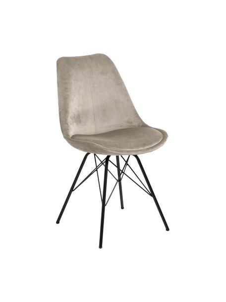 Fluwelen stoelen Eris, 2 stuks, Bekleding: polyester fluweel, Poten: gepoedercoat metaal, Beige, zwart, 49 x 54 cm