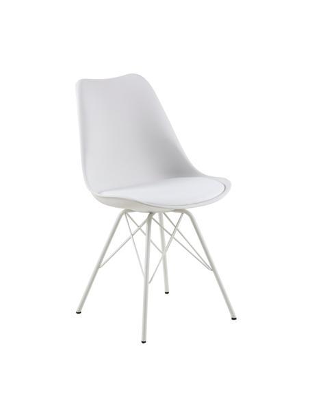 Krzesło z tworzywa sztucznego Eris, 2 szt., Tapicerka: sztuczna skóra (poliureta, Nogi: metal malowany proszkowo, Biały, S 49 x G 54 cm