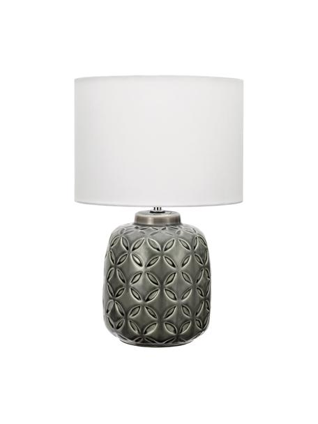 Keramische tafellamp Glowing Bloom, Lampenkap: stof, Lampvoet: keramiek, Grijs, wit, Ø 25 x H 40 cm