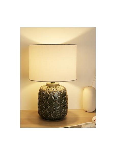 Lampada da comodino Glowing Bloom, Paralume: tessuto, Base della lampada: ceramica, Grigio, bianco, Ø 25 x Alt. 40 cm