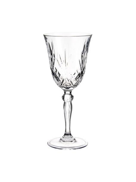 Copas de vino blanco de cristal con relieve Melodia, 6uds., Cristal, Transparente, Ø 8 x Al 19 cm