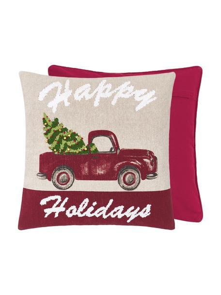 Federa arredo con raffinati dettagli ricamati Happy Holidays, 100% cotone, Beige, Larg. 45 x Lung. 45 cm