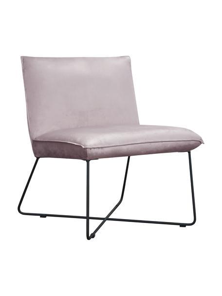 Krzesło tapicerowane z aksamitu Victor, Tapicerka: aksamit (100% poliester), Stelaż: drewno naturalne, Nogi: metal, Aksamitny lila, nogi: czarny, S 75 x G 75 cm