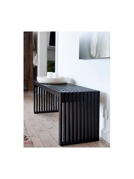 Panchina moderna in legno di mogano massiccio Rib, Legno di mogano verniciato, Nero, Larg. 104 x Alt. 43 cm