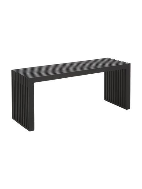 Zitbank bank Rib in zwart van massief hout, Gelakt mahoniehout, Zwart, 104 x 43 cm