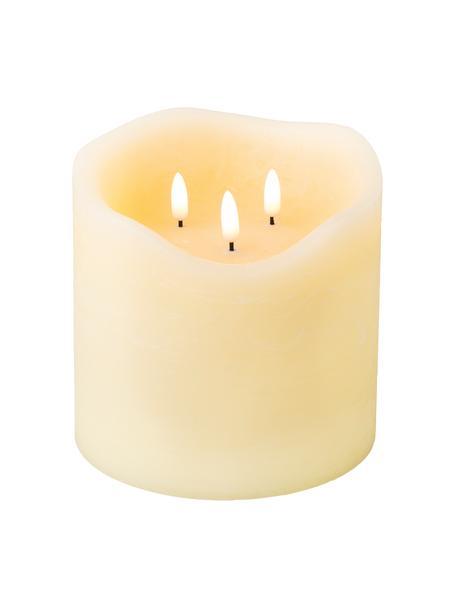 Candela a tre stoppini a LED a batteria in cera Bona, Bianco crema, Bianco crema, Ø 15 x Alt. 15 cm