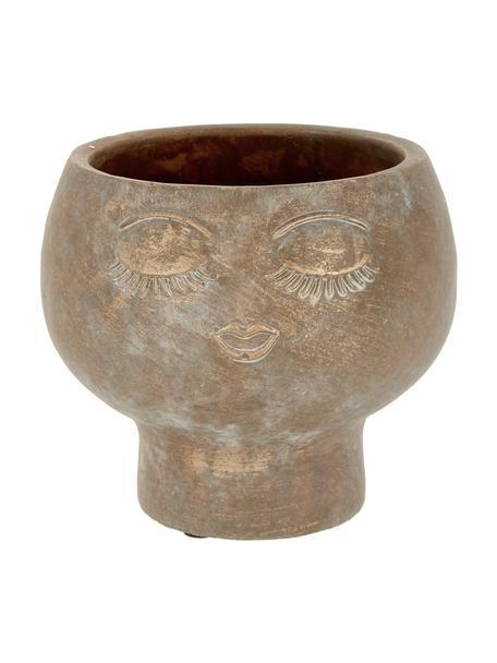 Übertopf Consi aus Zement, Zement, beschichtet, Messingfarben, Ø 16 x H 17 cm