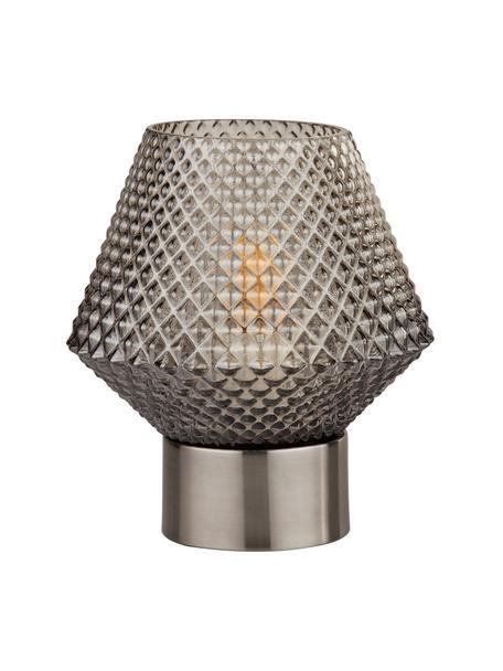 Kleine Nachttischlampe Luisville aus Glas, Sockel: Stahl, beschichtet, Lampenschirm: Glas, Grau, Ø 15 x H 18 cm