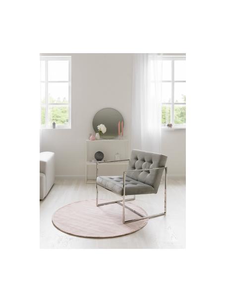 Sedia a poltrona in velluto grigio Manhattan, Rivestimento: velluto (poliestere) Con , Struttura: metallo zincato, Velluto grigio, Larg. 70 x Prof. 72 cm