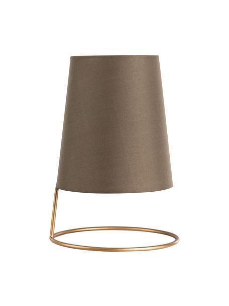 Klein retro nachlampje Shiny Circle, Lampenkap: katoenmix, Lampvoet: gecoat metaal, Goudkleurig, bruin, Ø 18 x H 26 cm