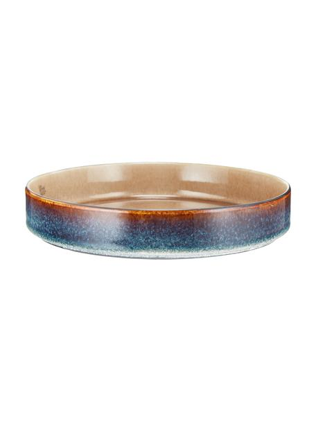 Platos hondos artesanales Quintana Amber, 2uds., Porcelana, Ámbar, marrón, azul, Ø 23 cm