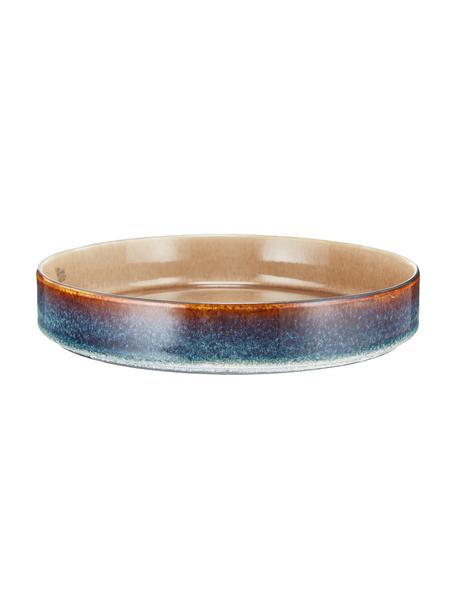 Ręcznie wykonany talerz głęboki Quintana, 2 szt., Porcelana, Odcienie bursztynowego, brązowy, niebieski, Ø 23 cm