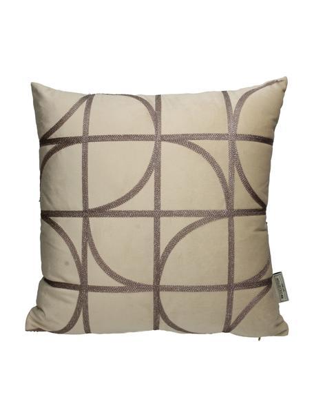 Besticktes Samt-Kissen Geometric, mit Inlett, Bezug: Polyestersamt, Beige, Taupe, 45 x 45 cm