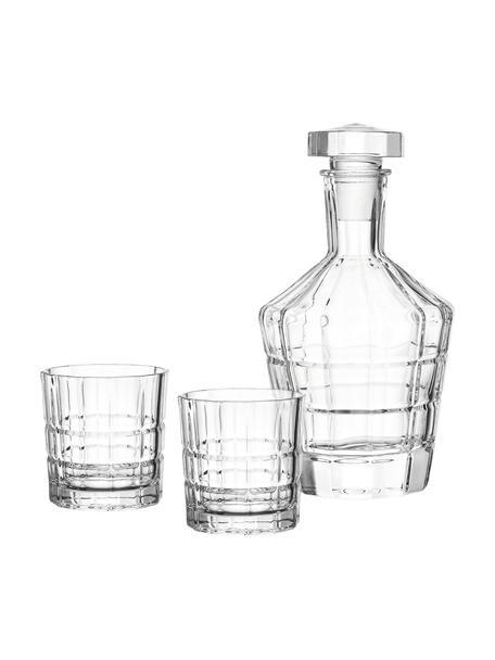 Whisky-Set Spiritii mit Relief, 3-tlg., Glas, Transparent, Set mit verschiedenen Größen
