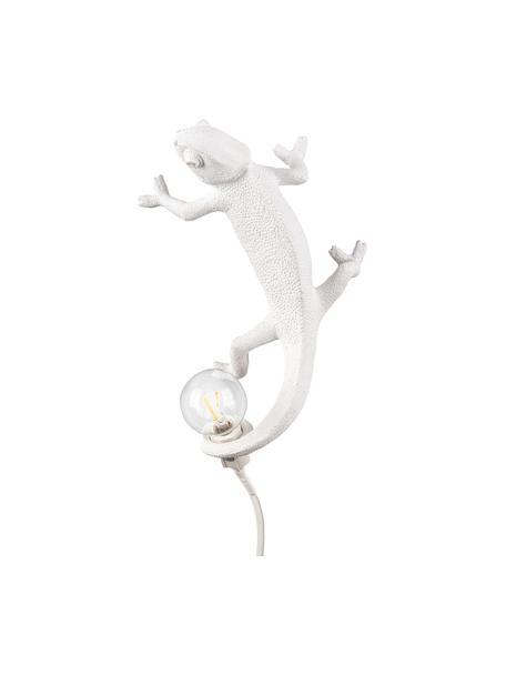 Design wandlamp Chameleon met stekker, Lamp: polyresin, Wit, 7 x 17 cm