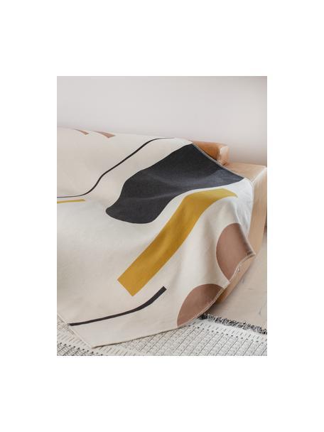 Coperta in cotone color crema con motivo astratto Nova, 85% cotone, 8% viscosa, 7% poliacrilico, Color crema, nero, giallo, marrone, Larg. 145 x Lung. 220 cm