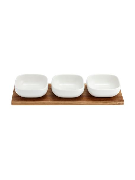 Schalenset Essentials van porselein en acaciahout, 4-delig, Dienblad: acaciahout, Wit, acaciahoutkleurig, Set met verschillende formaten