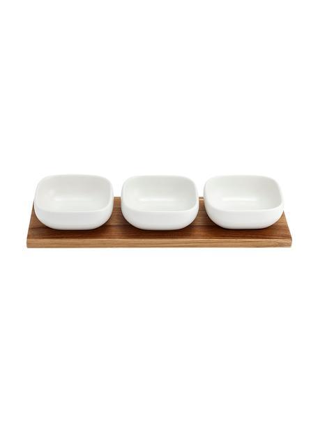 Set de cuencos Essentials, 4pzas., Cuencos: porcelana, Bandeja: madera de acacia, Blanco, acacia, Set de diferentes tamaños