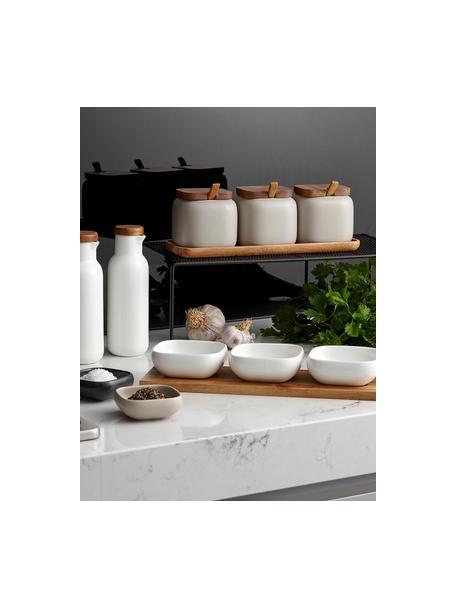 Set 4 ciotole in porcellana e legno d'acacia Essentials, Vassoio: legno d'acacia, Bianco, legno d'acacia, Set in varie misure