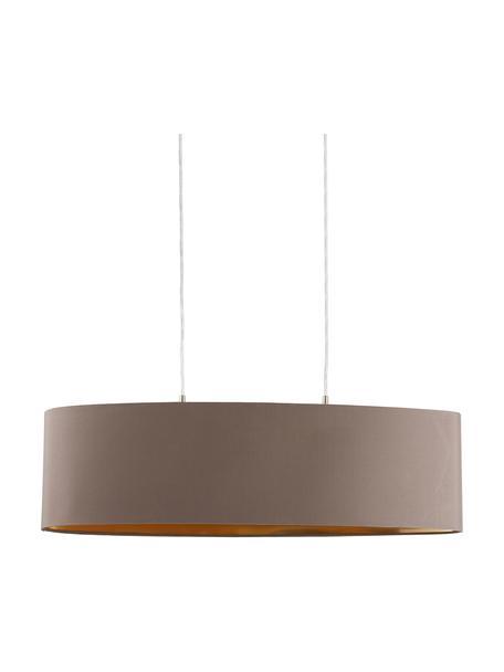 Lampada a sospensione ovale con decoro dorato Jamie, Baldacchino: metallo nichelato, Argentato, grigio-beige, Larg. 78 x Alt. 22 cm
