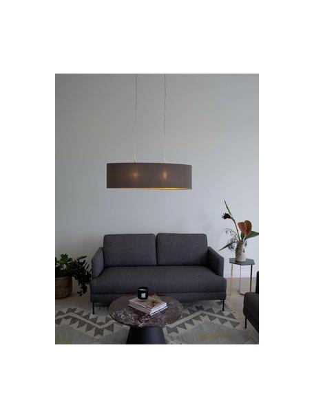 Lámpara de techo ovalada Jamie, Fijación: metal niquelado, Cable: plástico, Plateado, gris beige, An 78 x Al 22 cm
