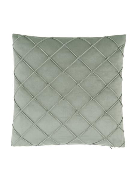 Fluwelen kussenhoes Luka in saliegroen met structuur-ruitpatroon, Fluweel (100% polyester), Groen, 40 x 40 cm