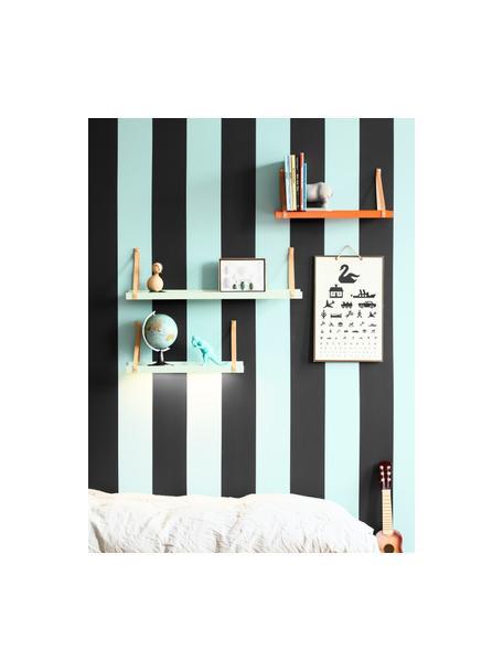 Metalen wandplank Shelfie met leren riemen, Plank: gepoedercoat metaal, Riemen: leer, Mintgroen, bruin, 50 x 23 cm