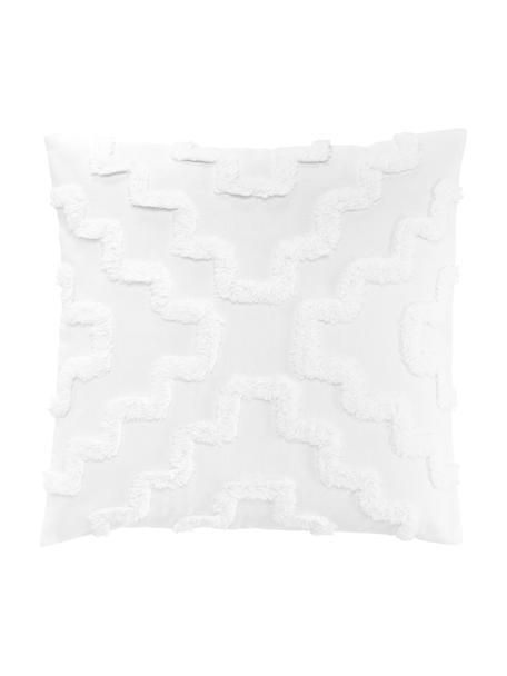 Federa arredo con motivo trapuntato Lorna, 100% cotone, Bianco, Larg. 50 x Lung. 50 cm