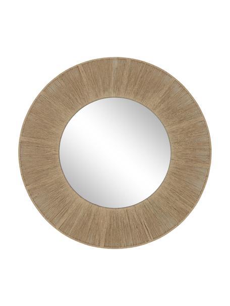 Specchio rotondo da parete con cornice in corda Citra, Cornice: metallo, corda, Superficie dello specchio: lastra di vetro, Retro: pannello di fibra a media, Beige, Ø 90 x Prof. 3 cm