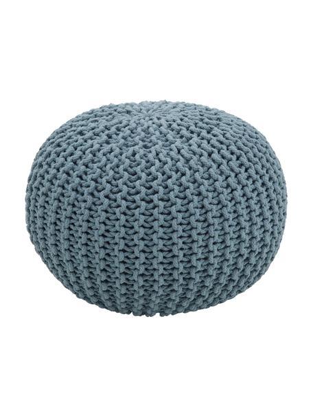 Pouf in maglia fatto a mano Dori, Rivestimento: 100% cotone, Petrolio, Ø 55 x Alt. 35 cm