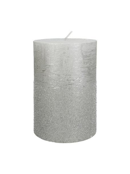 Stumpenkerze Glitters, Wachs, Silberfarben, Ø 10 x H 15 cm