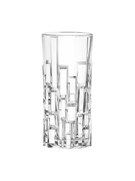 Kristall-Longdrinkgläser Etna mit Relief, 6 Stück, Kristallglas, Transparent, Ø 7 x H 15 cm