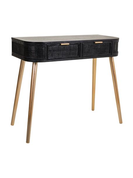 Consola de madera redonda Cayetana, Estructura: tablero de fibras de dens, Patas: madera de bambú, Negro, An 88 x Al 78 cm