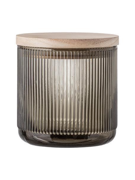 Glazen opbergpot Gianna met groefstructuur, Ø 12 x H 12 cm, Deksel: hout, siliconen, Grijs, houtkleurig, Ø 12 x H 12 cm