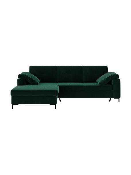 Sofa narożna z funkcją spania i ze schowkiem Moor, Tapicerka: 100% poliester z systemem, Stelaż: drewno liściaste, drewno , Nogi: drewno lakierowane Dzięki, Ciemny zielony, S 260 x G 162 cm