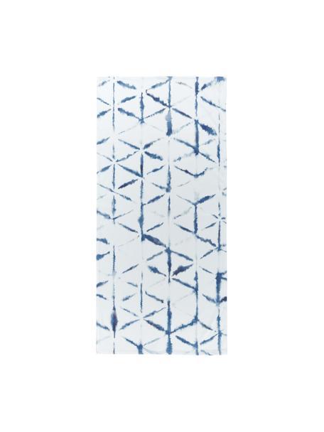 Toalla de playa ligera Shibori, 55%poliéster, 45%algodón Gramaje ligero 340g/m², Blanco, azul, An 70 x L 150 cm