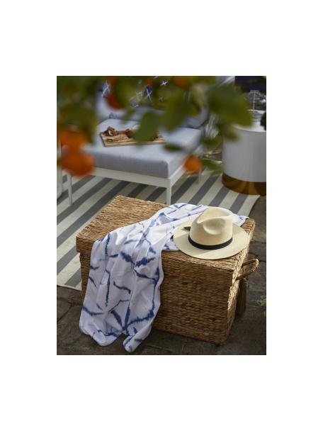 Leichtes Strandtuch Shibori mit Batikmuster, 55% Polyester, 45% Baumwolle Sehr leichte Qualität, 340 g/m², Weiss, Blau, 70 x 150 cm