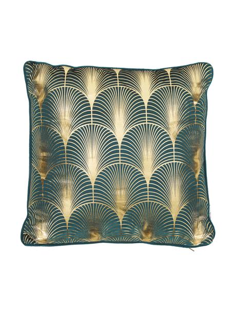 Fluwelen kussen Whety met glanzende art decovprint, met vulling, 100% fluweel, bedrukt, Petrolkleurig, goudkleurig, 45 x 45 cm