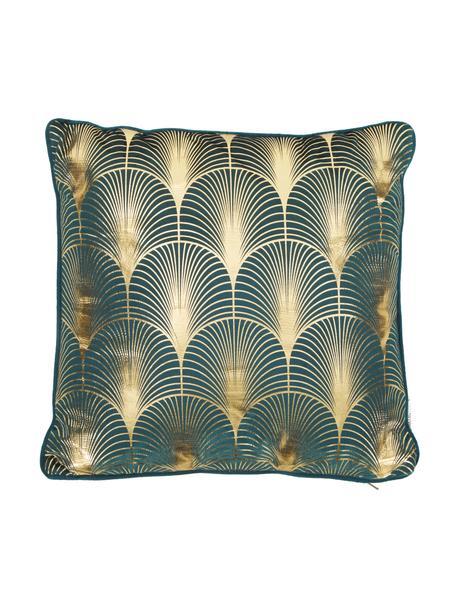 Samt-Kissen Whety mit glänzendem Art Deco Print, mit Inlett, 100% Samt, bedruckt, Petrol, Goldfarben, 45 x 45 cm