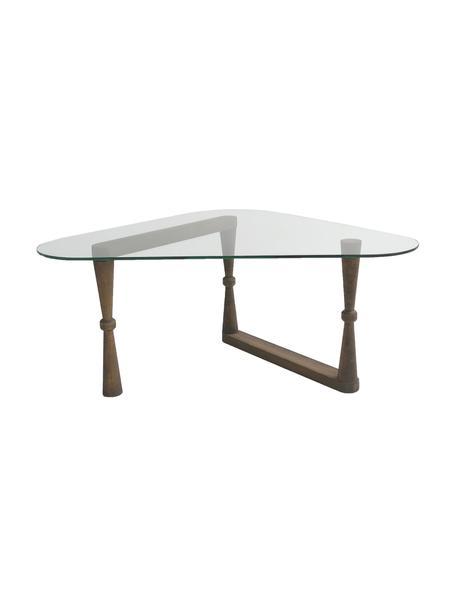Stolik kawowy ze szklanym blatem NuO, Blat: szkło hartowane, Nogi: drewno, Ciemny drewno, transparentny, S 96 x W 41 cm