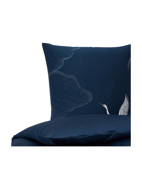 Baumwollsatin-Bettwäsche Yuma mit Kranichmotiv, Webart: Satin Fadendichte 210 TC,, Blau, Weiß, Grau, 135 x 200 cm + 1 Kissen 80 x 80 cm