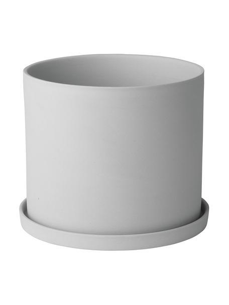 Maceta pequeña de porcelana Nona, Porcelana, Gris claro, Ø 15 x Al 13 cm