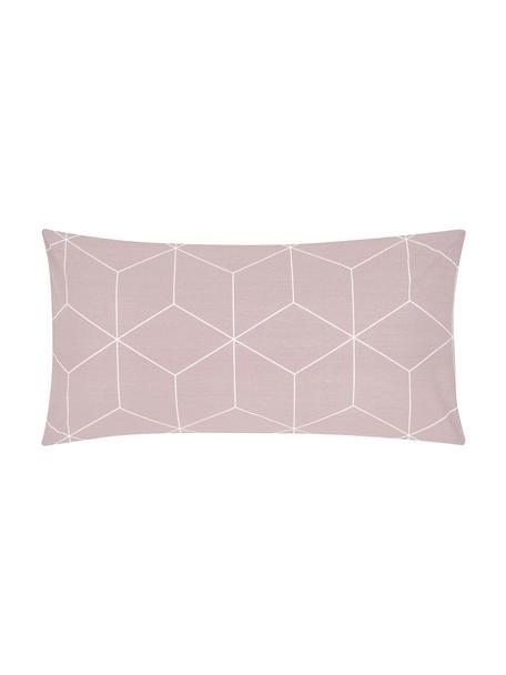 Funda de almohada de algodón Lynn, 45x85cm, Rosa palo, blanco crema, An 45 x L 85 cm