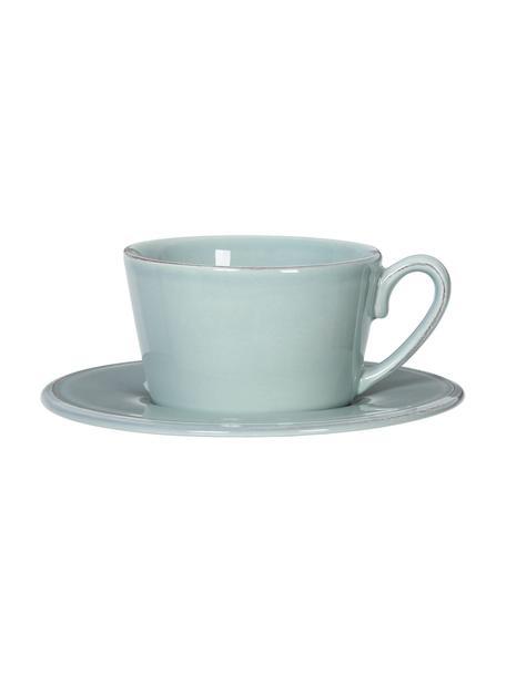 Taza de té con platito Constance, estilo rústico, Gres, Verde menta, Ø 19 x Al 8 cm