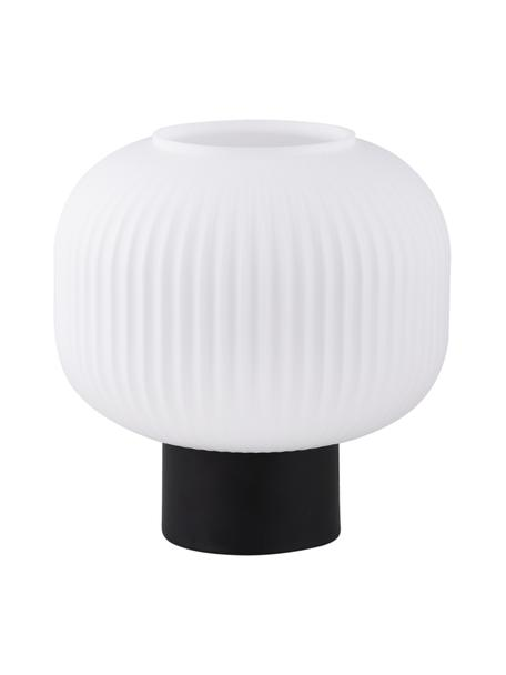 Kleine Nachttischlampe Charles aus Opalglas, Lampenschirm: Opalglas, Lampenfuß: Metall, beschichtet, Schwarz, Opalweiß, Ø 20 x H 20 cm