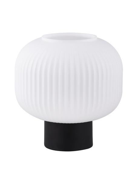 Lámpara de mesa pequeña de vidrio opalino Charles, Pantalla: vidrio opalino, Cable: cubierto en tela, Negro, blanco opalino, Ø 20 x Al 20 cm