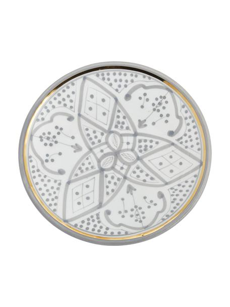 Piattino da dessert fatto a mano stile marocchino con bordo oro Assiette, Ceramica, Grigio chiaro, crema, oro, Ø 20 cm